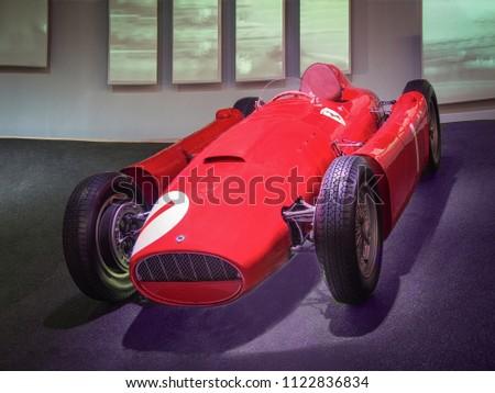 MARANELLO, ITALY-JULY 21, 2017: 1955 Ferrari D50 in the Ferrari Museum. #1122836834