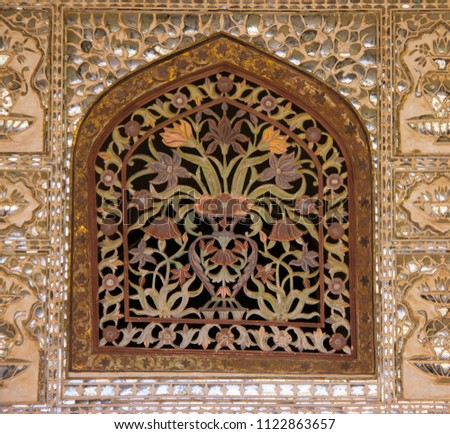 Intricate Carving Inside the Jaipur Palace #1122863657