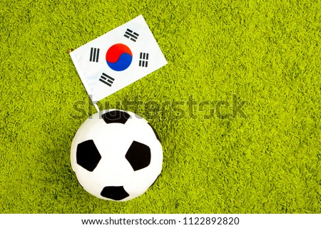 Football team of Korea. Flag of Korea with a soccer ball. Football championship. the flag of the Republic of Korea at the stadium. Team on football. #1122892820