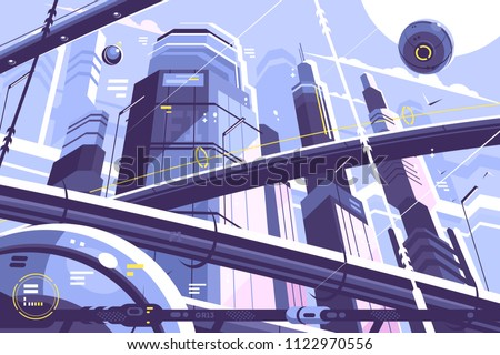 City metropolis of future with skyscrapers and hyperloop. Vector illustration Royalty-Free Stock Photo #1122970556