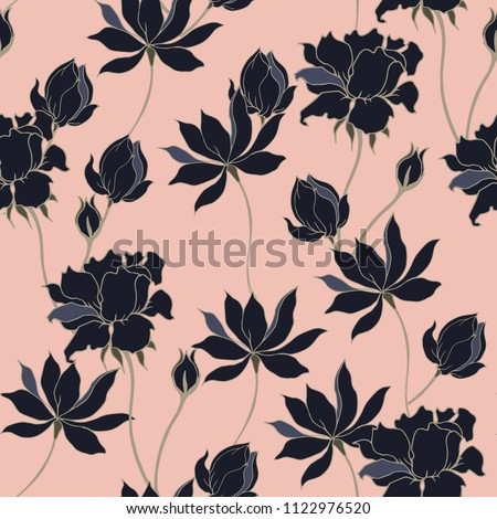 Abstract elegance pattern with floral background. #1122976520