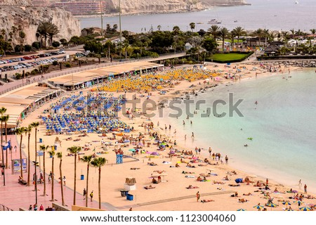 Spanish View Landscape in Puerto Rico Gran Canaria Tropical Volcanic Canary Islands Spain Royalty-Free Stock Photo #1123004060