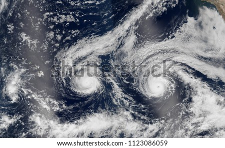 Hurricanes Arthur Cyclone view from space. Hurricanes Cyclone from above, the sky. Typhoon. Elements of this image are furnished by Nasa.