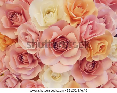 rose making from paper in sweet color tone for background decoration #1123147676