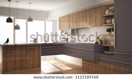 Modern minimalistic wooden kitchen with parquet floor, carpet and panoramic window, white and violet architecture interior design, 3d illustration #1123189568