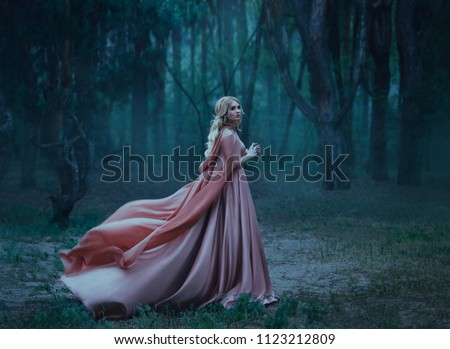 A mysterious blonde girl in a long pink dress with a train and a raincoat that flutters in the wind. The wizard leaves in a forest covered with fog. A background of trees with a haze away. Art photo #1123212809