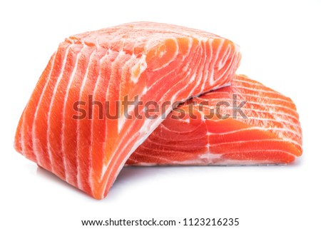 Fresh raw salmon fillets isolated on white background. #1123216235