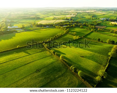 Aerial view of endless lush pastures and farmlands of Ireland. Beautiful Irish countryside with emerald green fields and meadows. Rural landscape on sunset. #1123224122
