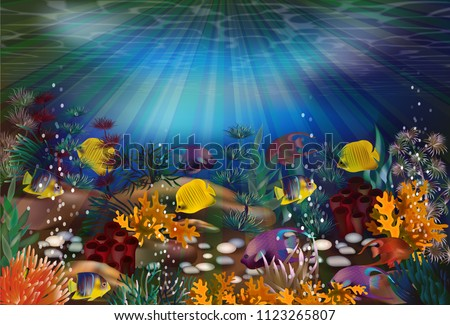 Underwater wallpaper with tropical fish, vector illustration #1123265807