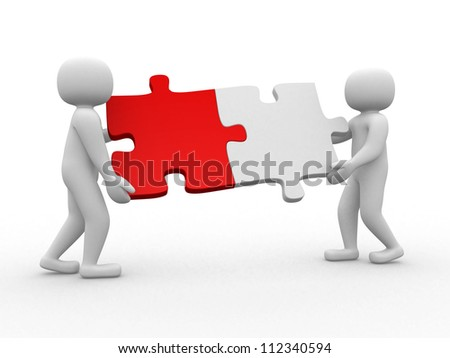 Two person matching puzzle pieces - this is a 3d render illustration