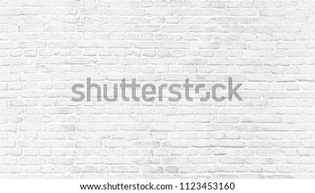 White brick wall texture. Home and office modern design backdrop. Painted bricks wall #1123453160