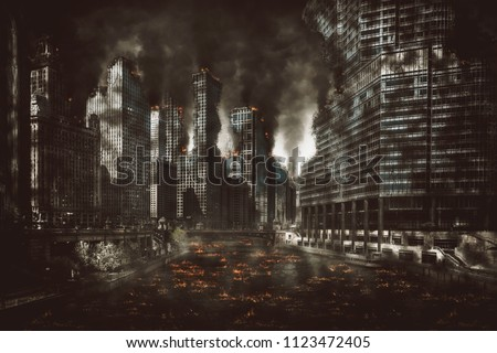 Eerie night scene of the aftermath of an explosion or cataclysmic fire in the CBD of a modern city with smoke and burning debris #1123472405