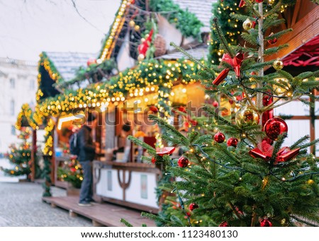 Christmas Market at Opernpalais at Mitte in Winter Berlin, Germany. Advent Fair Decoration and Stalls with Crafts Items on the Bazaar. #1123480130