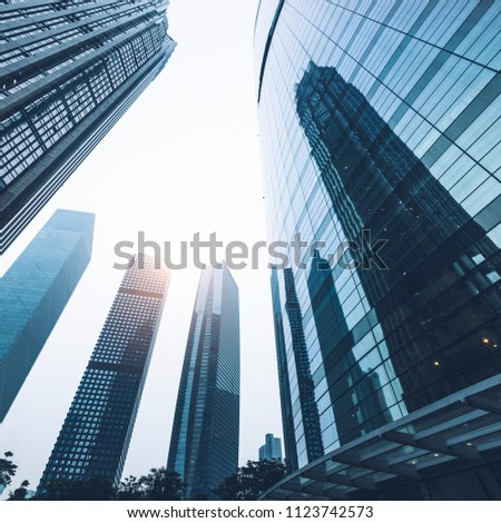 Architectural landscape of modern glass curtain wall #1123742573