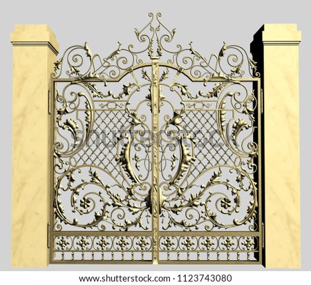 3d model of forged garden gate isolated from the background #1123743080