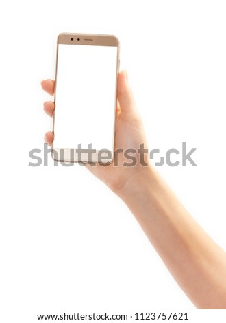 a woman holds a smartphone to the front, no face, isolated #1123757621