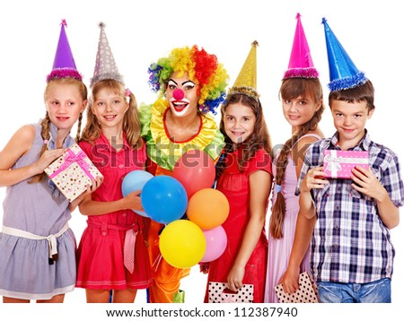 Birthday party group of teen people with clown. Isolated. #112387940
