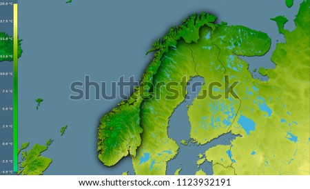 Mean temperature of warmest quarter within the Norway area in the stereographic projection with legend - raw composition of raster layers with dark glowing outline #1123932191