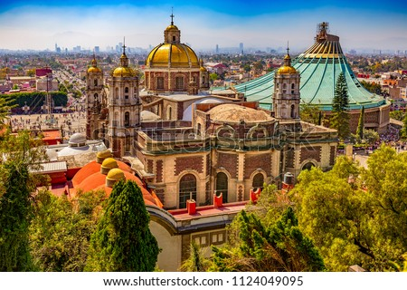 Mexico. Basilica of Our Lady of Guadalupe. The old and the new basilica, cityscape of Mexico City on the far #1124049095