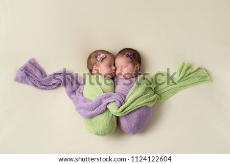 Fraternal twin newborn baby girls swaddled together in light green and lavender stretch wrap material.