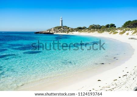 Summer day at Pinky Beach and the Bathurst Lighthouse on Rottnest Island, Perth, Western Australia, Australia. #1124193764
