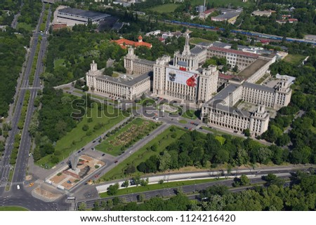 Bucharest, Romania, May 15, 2016: Aerial view of the House of Free Press #1124216420