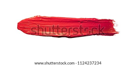 Lipstick smudged isolated white background #1124237234