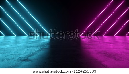Futuristic Sci-Fi Abstract Blue And Purple Neon Light Shapes On Black Background And Reflective Concrete With Empty Space For Text 3D Rendering Illustration