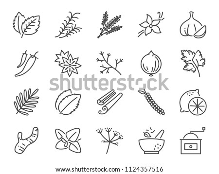 Spices and herbs icon set. Included icons as basil, thyme, ginger, pepper, parsley, mint and more. Royalty-Free Stock Photo #1124357516