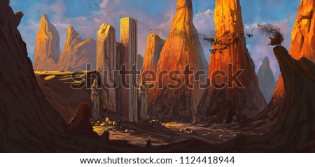 Ruined fortress in a rocky desert being overrun by a dangerous evil character - digital fantasy painting #1124418944