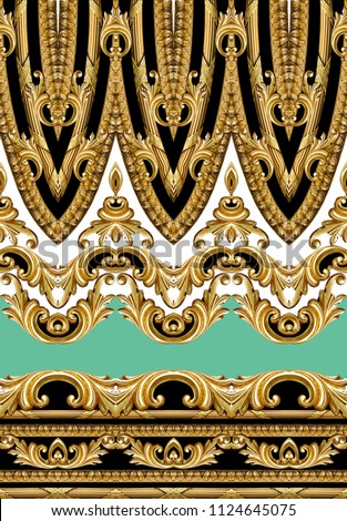 golden baroque ornament #1124645075