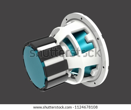 3D render of a subwoofer isolated on a grey background #1124678108
