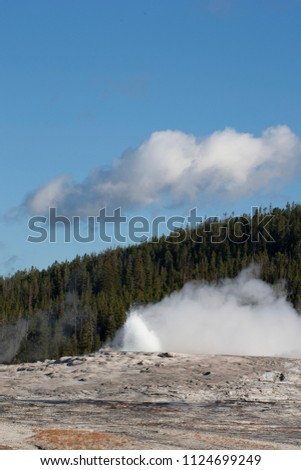 Old Faithful Geyser in Yellowstone National Park #1124699249