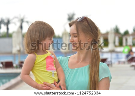 Happy mom and daughter, cute little baby girl. Happy family #1124752334