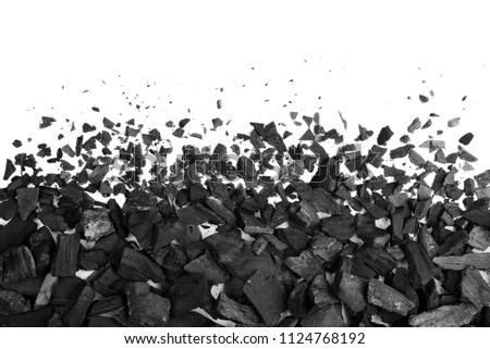 Charcoal or coal carbon texture hi resolution isolated on white background
