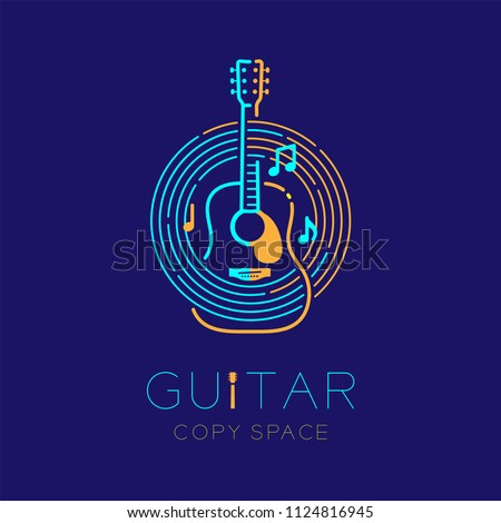 Acoustic guitar, music note with line staff circle shape logo icon outline stroke set dash line design illustration isolated on dark blue background with guitar text and copy space