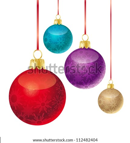 set of different colored Christmas balls #112482404