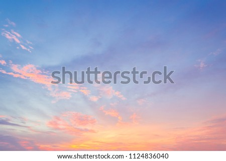Evening sky with colorful sunset cloud and dusk  sky on twilight #1124836040