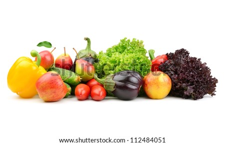 collection fruits and vegetables isolated on a white background #112484051