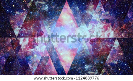 Image of the nebula, galaxy and the sacred geometry collage. Abstract cosmos. Elements of this image furnished by NASA. Royalty-Free Stock Photo #1124889776