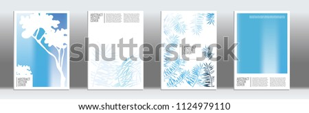 Blue cover set. Tropical flyer on light background.  Fluid poster design.  Brochure foil design. Business backdrop. Stylish vector cover design.  Abstract gradient vintage texture. #1124979110