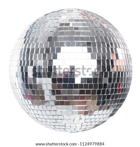 Shining Disco Ball Party Efect isolated on white background Royalty-Free Stock Photo #1124979884