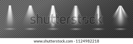 Creative vector illustration of bright lighting spotlights set, light sources isolated on transparent background. Art design beam for concert, scene illumination. Abstract concept graphic element