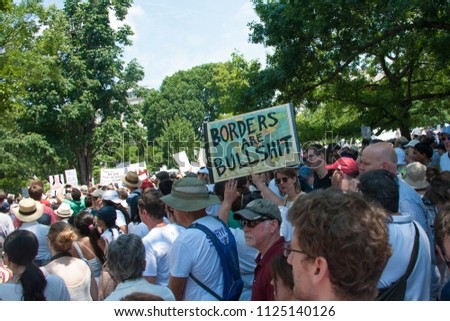 WASHINGTON JUNE 30:  Participants in the Families Belong Together rally, a protest against President Trump's separation of immigrant children from their parents, on June 30, 2018 in Washington DC  #1125140126
