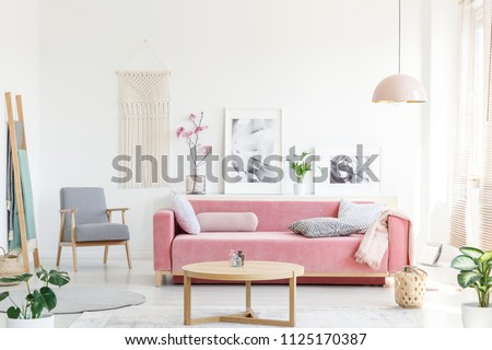 Real photo of a pink couch with pillows standing behind a table, next to an armchair, in front of a shelf with posters and flowers and under a lamp in bright and cozy living room interior #1125170387
