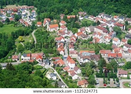 Top view of the german village Honau, Baden-Wuerttemberg, Germany. #1125224771