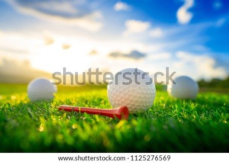 close up the golf ball and red tee pegs on the green background with sunset #1125276569