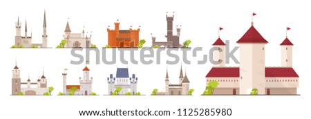 Collection of ancient castles, fortresses, citadels and strongholds isolated on white background. Set of buildings of beautiful medieval architecture. Flat cartoon colorful vector illustration. #1125285980