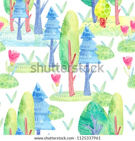 Seamless pattern with a cartoon decorative, cute forest, watercolor trees, lawn, flowers, grass #1125337961