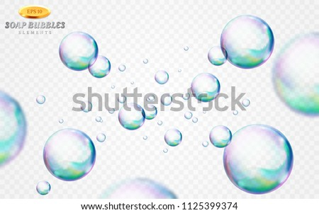 Vector soap bubbles set isolated on white transparent background. Special effect for design. Water spheres with air, soapy balloons, lather, suds, soap suds. Glossy foam balls. 3d illustration.